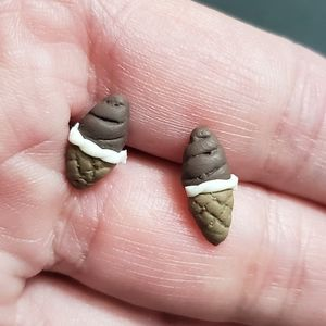 Jewelry - Polymer clay chocolate ice cream cone earrings